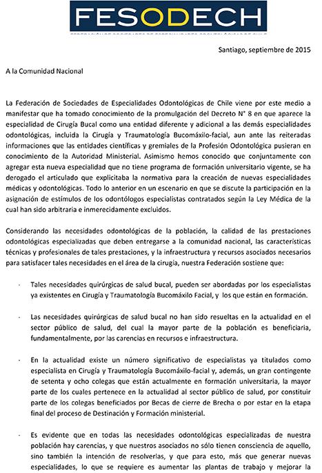 Carta FESODECh a la Comunidad Nacional